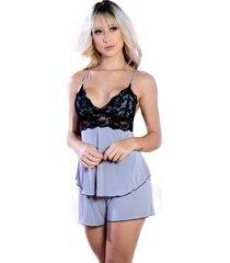 short doll copacabana yasmin lingerie cinza/preto