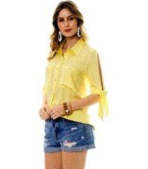 camisa bisô amarração feminina
