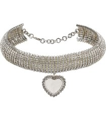 alessandra rich crystal choker with heart pendant
