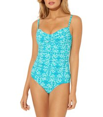 women's bleu by rod beattie underwire tankini top, size 8 - blue