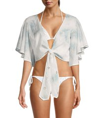 surf gypsy women's tie-front cover-up top - ivory - size m