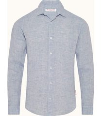 navy and white tailored-fit giles linen shirt