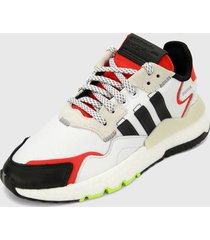 tenis lifestyle blanco-negro-rojo adidas originals nite jogger