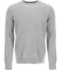 maison kitsuné tricolor fox patch sweater