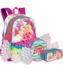 kit barbie dreamtopia 1 infantil sestini - mochila + lancheira + estojo