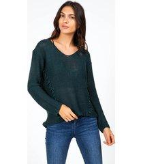 desi whip stitch sweater - dark olive