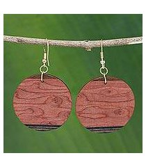 mahogany earrings, 'circle of nature' (brazil)