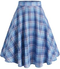 plus size high waist plaid a line skirt