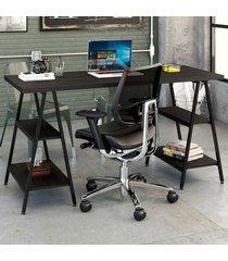 mesa para escritório kuadra 4 prateleiras ônix - compace