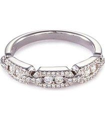 'art deco' diamond 18k white gold link ring