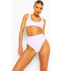 essentials bikini crop top met lage ronde hals, wit