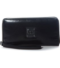 billetera de cuero negra xl extra large cagua canopla