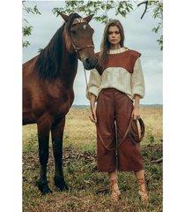 pantalón silueta tipo culotte de cuero para mujer prenses