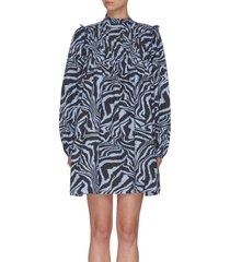 animal print cotton poplin dress