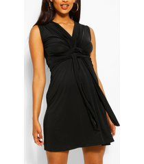 maternity knot front mini dress, black
