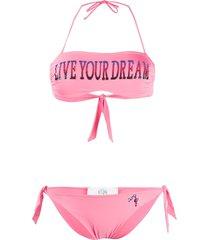 alberta ferretti printed bandeau bikini - pink