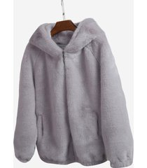 cappotti eleganti con cerniera in pelliccia sintetica tinta unita