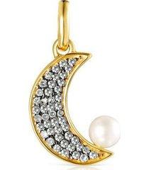 dije nocturne luna de oro vermeil, diamantes y perla 918444550