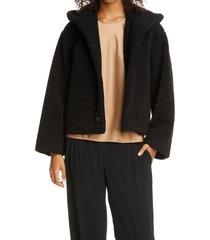 women's club monaco crop teddy coat, size xx-small - black
