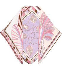 emilio pucci faux-pearl embellished silk scarf - brown