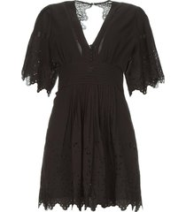 broderie jurk elise  zwart
