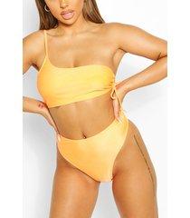 mix & match crinkle high waisted bikini brief, orange
