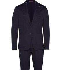 packable slim flex stripe suit kostym blå tommy hilfiger tailored