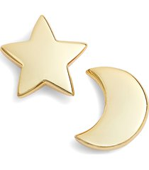argento vivo sterling silver argento vivo moon & star stud earrings in gold at nordstrom