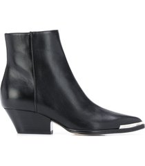sergio rossi pointed contrast-cap boots - black