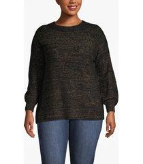 lane bryant women's blouson-sleeve shimmer sweater 18/20 black