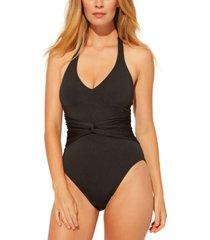 bleu by rod beattie plunge halter-style one-piece swimsuit women's swimsuit