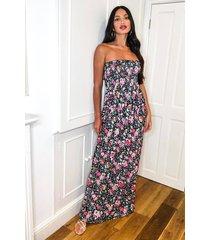 tall geplooide strapless bloemenprint maxi jurk, zwart