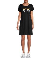 karl lagerfeld paris women's choupette t-shirt dress - black - size xs
