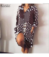 zanzea mujer vintage manga larga botones abajo fiesta de verano camisa larga vestido mini vestido -café