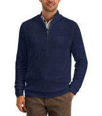 club room men's quarter-zip textured cotton sweater, created for macy's