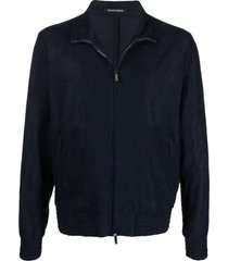 emporio armani knit standing-collar harrington jacket - blue