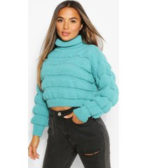 petite bubble knit roll neck sweater, turquoise