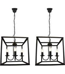 2 pendentes lamp show donna preto metal bivolt