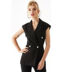 yoins abrigo negro diseño chaleco con cuello de muesca