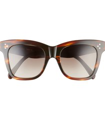 women's celine 52mm gradient adjusted fit round sunglasses - transparent brown/ brown