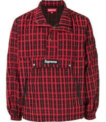 supreme nylon plaid pullover - red