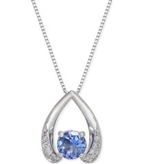 "tanzanite (1/2 ct. t.w.) & diamond accent 18"" pendant necklace in 14k white gold"