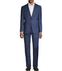 hickey freeman men's milburn ii regular-fit windowpane wool suit - blue - size 44 r