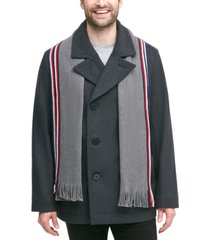 tommy hilfiger men's classic double-breasted peacoat with detachable scarf