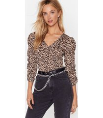 womens ribbed leopard print bodysuit with v-neckline - brown