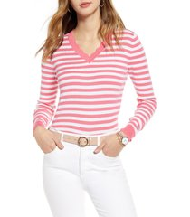 women's 1901 scallop trim v-neck sweater, size xx-large - pink