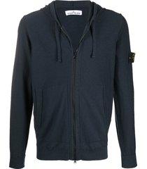 stone island logo patch zipped hoodie - blue