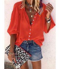 yoins botón rojo diseño redondo cuello blusa con mangas de linterna