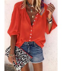 yoins botón rojo diseño redondo cuello blusa con mangas farol