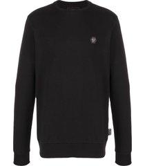 philipp plein pink paradise embroidered sweatshirt - black